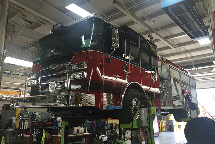 7 Back at Pierce's Appleton, Wisconsin, facility, this pumper is in the final stages of production