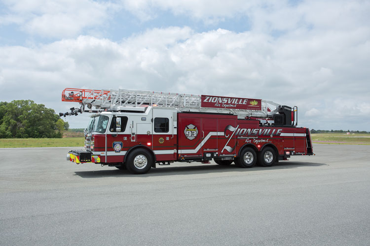 1 The Zionsville (IN) Fire Department chose to have E-ONE build it a CR137 aerial ladder to reach many of the homes in its district where setbacks and the sizes of homes prevented roof operations with shorter ladders. (Photos courtesy of E-ONE unless otherwise noted.)