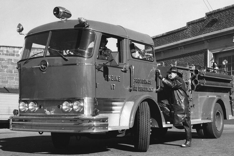 4 A Mack factory delivery photograph of the Providence (RI) Fire Department's Engine 17, one of two Mack C-85s the department purchased in 1957. The C-Series was an undocumented spinoff from an Ahrens-Fox design. (Photo courtesy of Harvey Eckart