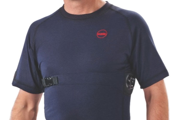 1 Globe Manufacturing's Wearable Advanced Sensor Platform (WASP™) system uses a flame-resistant, moisture-wicking base layer shirt that incoporates a Zeph BioHarness™. (Photo courtesy of Globe Manufacturing Inc