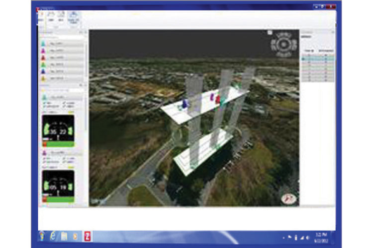 6 The 3D tracking feature of the WASP system allows incident commanders to identify the location of all WASP-wearing firefighters, as shown on this monitor during a live fire training scenario. (Photo courtesy of Globe Manufacturing Inc