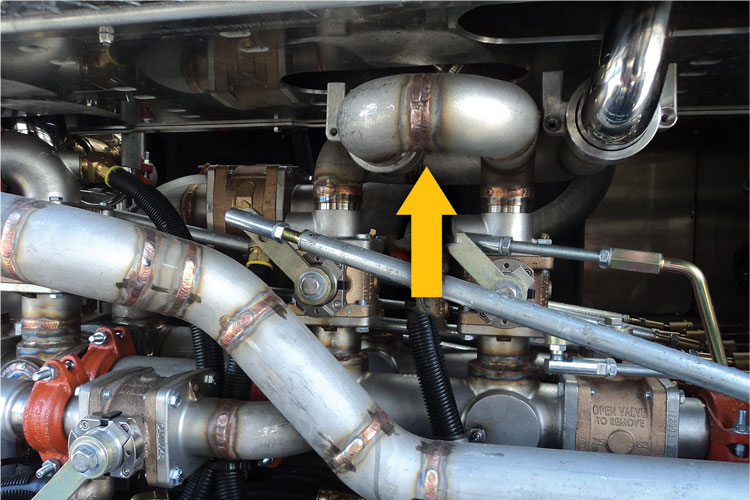 """7 This photo shows what appears to be an engineering error requiring a double-width weld between two fittings. Double welds may not be ethical but they are not """"illegal"""" per NFPA 1901"""