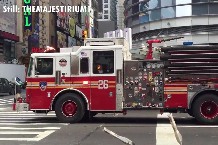 Still of FDNY fire apparatus in New York City.
