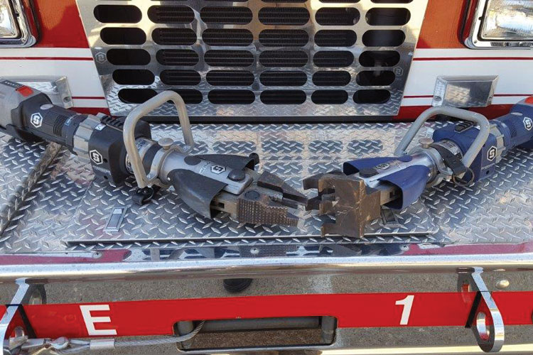 5 The Athens (TN) Fire Department purchased two StrongArm rescue tools, one in black and one in blue. The black tool is typically used by law enforcement, and the fire department shares it with the police department's SWAT team. [Photo courtesy of the Athens (TN) Fire Department.]
