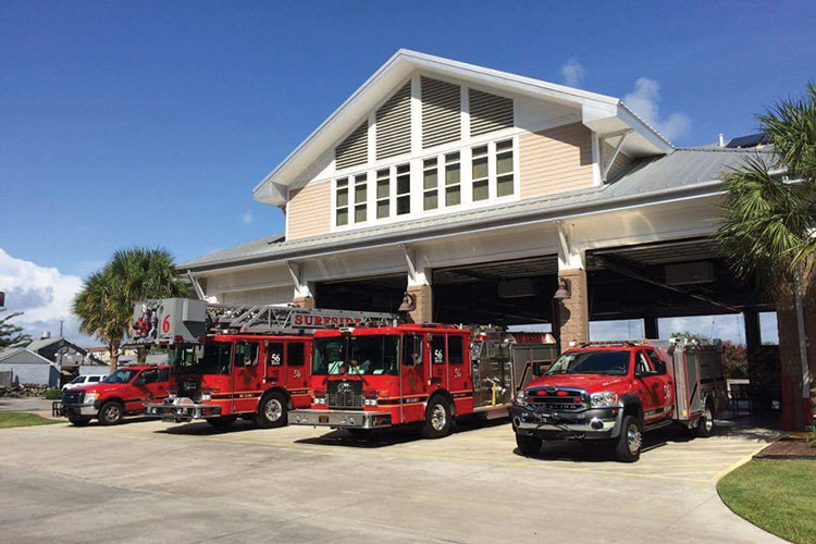 1 DP3 Architects Ltd. of Greenville, South Carolina, built a new fire station for the Surfside Beach (SC) Fire Department whose design allowed them to place three floors into the station that looks like a two-story building. [Photos courtesy of Surfside Beach (SC) Fire Department.]