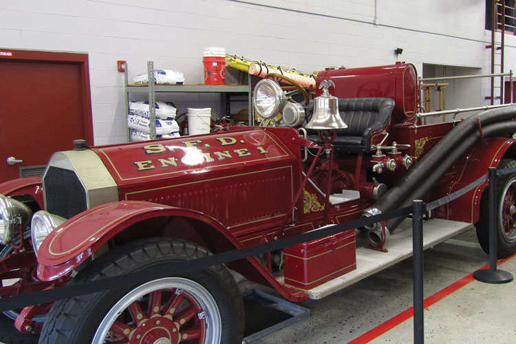 3 On display in a Surfside Beach apparatus bay is a 1920 American LaFrance pumper from a former American LaFrance showroom in Charleston, South Carolina.