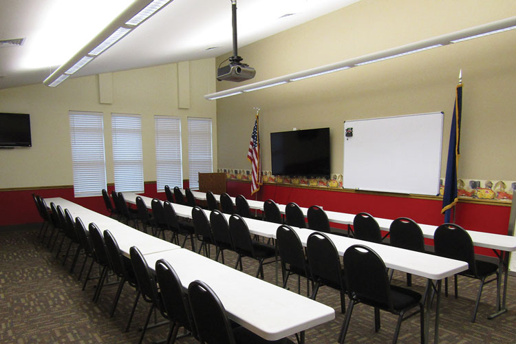 5 Surfside Beach's large training room doubles as the town's emergency operations center. 6 The station's dayroom and dining area are in a combined open space adjacent to the kitchen
