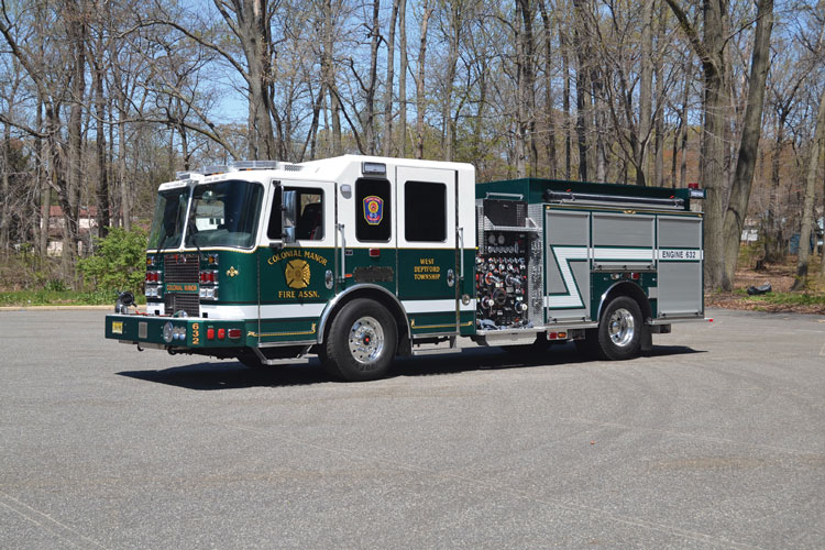 1 KME built this custom pumper for the Colonial Manor (NJ) Fire Association on a Predator™ Panther 4x2 long four-door chassis and cab with a 10-inch raised roof and seating for six firefighters.