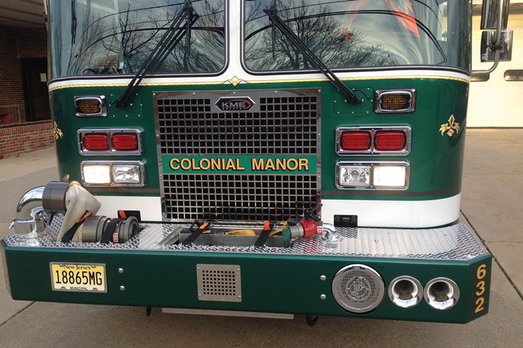 3 The extended front bumper of Colonial Manor's new pumper has a six-inch intake and 150 feet of preconnected 1¾-inch hose tipped with an Akron Brass nozzle. (Photos 3-7 courtesy of First Priority Emergency Vehicles.)