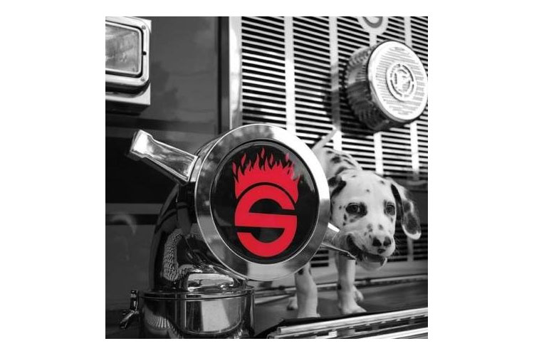 Sutphen logo on a fire truck with a Dalmatian
