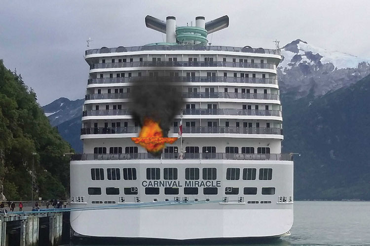 4 This simulation was very easy to build. It was so effective in illustrating a challenging problem, I showed it to the captain of this ship and the officer in charge of shipboard firefighting. <em>(Photo by author.)</em>