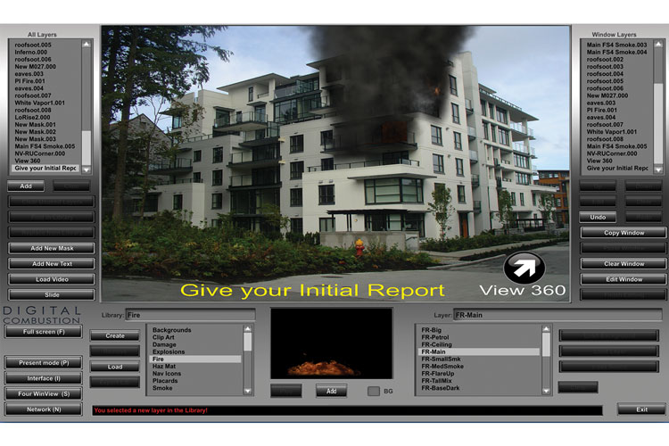 7 FS6 is an excellent tool for the tactical portion of a promotional exam or assessment center. You can include written instructions for the candidate. The arrow will change the screen to view the other three sides of the building.