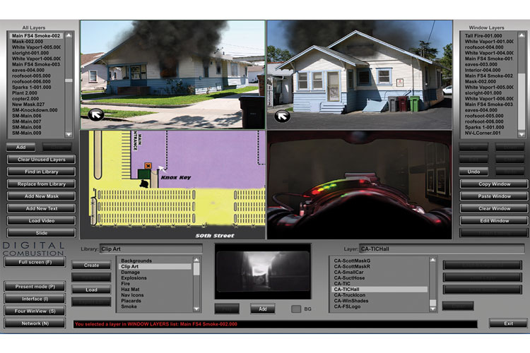 8 FS6 has four screens available for a simulation. You can show one screen at a time or all four at once. Inserting your own photos and videos allow for a wide range of creativity. The bottom right screen shows the interior of the fire from the perspective of the firefighter looking through a face piece. This component can be used to discuss air management issues.