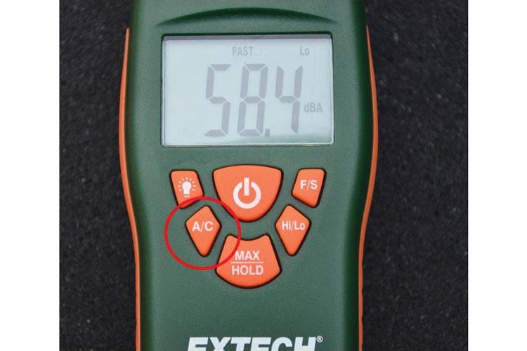 3 The dBA/dBC setting on a sound level meter.