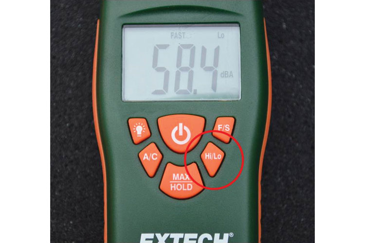 4 The high/low range setting on a sound level meter.