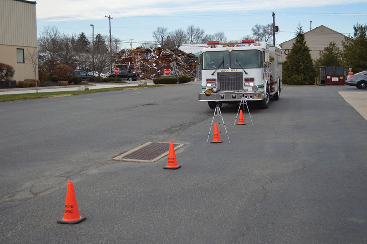 7 Measuring the sound pressure level of the siren on the 0-degree approach. Measurements are taken every 10 feet out to 300 feet. This scenario exemplifies the fire apparatus approaching a civilian vehicle from the rear.