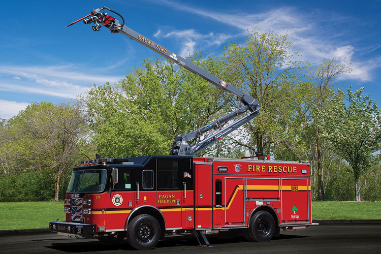 1 The Eagan (MN) Fire Department had Piece Manufacturing build a pumper with a 50-foot Snozzle articulating boom with a 1,500-gpm waterway and a piercing nozzle that flows 250 gpm with a 40-foot spray pattern. (Photos 1-3 courtesy of Pierce Manufacturing Inc.)