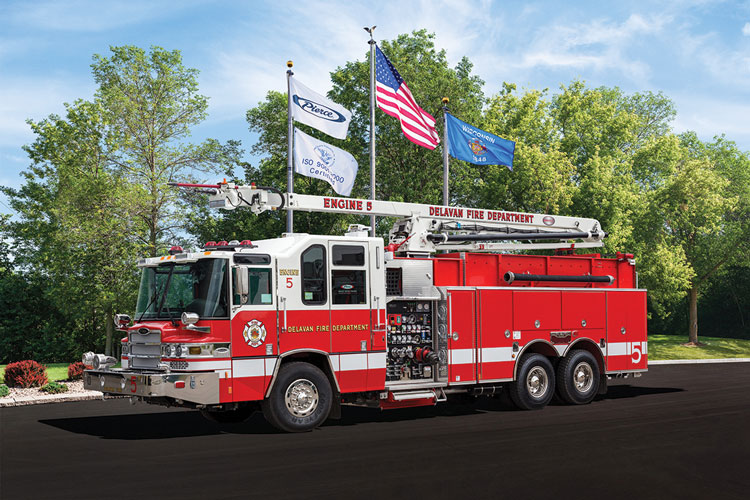 2 Engine 5 of the Delavan (WI) Fire Department features a 65-foot Snozzle with a piercing nozzle built by Pierce Manufacturing.