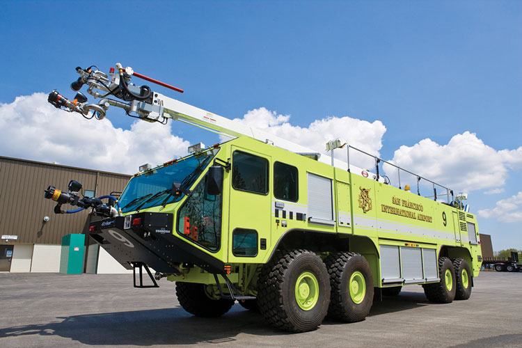 3 The Snozzle units are often used on ARFF vehicles built by Oshkosh, such as this 8x8 Striker with a 65-foot Snozzle built by Oshkosh for the San Francisco (CA) International Airport