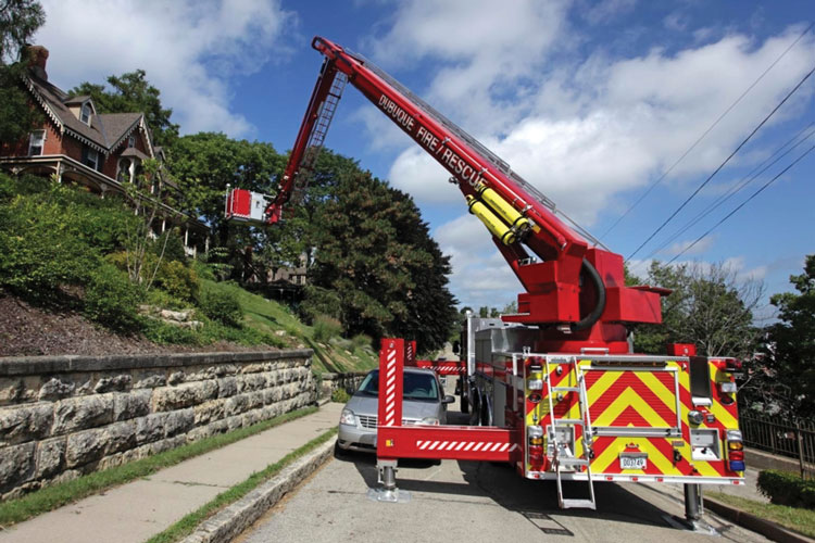 5 Rosenbauer built this T-Rex for the Dubuque (IA) Fire Department. The rig has a 115-foot vertical reach and a 93-foot horizontal reach.