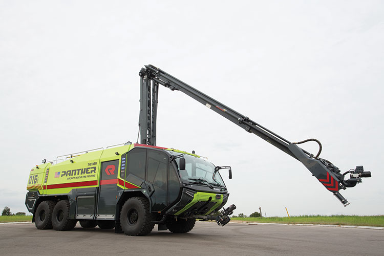 6 This Stinger HRET is mounted on a Rosenbauer-built Panther ARFF chassis.