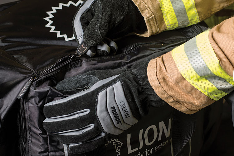 1 Lion's Primus structural firefighting gloves have a 3-D pattern with a forchette area on the fingers and a gauntlet-style cuff and are made from more flexible sheep grain leather. (Photos 1-4 courtesy of Lion.)