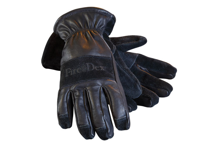 6 Fire-Dex's 3-D Dex-Pro gloves eliminate the seams at the end of the fingers and use precurved forchettes (side panels) for each finger, giving them a natural form. (Photo courtesy of Fire-Dex