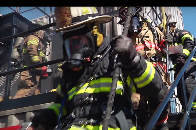 Firefighters during hands-on training