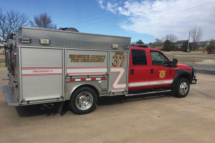 12 The Sedgwick County (KS) Fire Department had Unruh Fire build this quick-attack squad on a Ford F-550 chassis with a Hale HBX B18 200-gpm pump, a 300-gallon water tank, and a foam tank. (Photo courtesy of Unruh Fire)