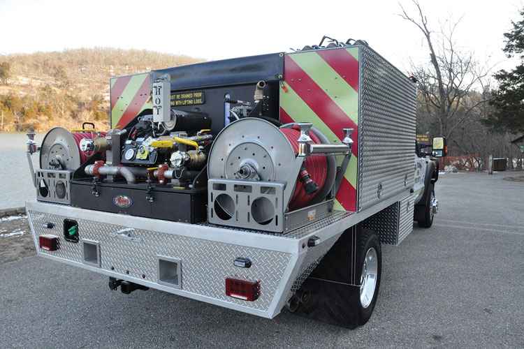13 The Mt. Olivet (WV) Fire Department went to Precision Fire Apparatus for this quick-attack pumper that mounts a 300-gallon water tank, a 10-gallon foam tank, a Hale HP200 pump skid unit, two booster reels, a front bumper turret, and one 1¾-inch hose preconnect. (Photos 13-15 courtesy of Precision Fire Apparatus.)