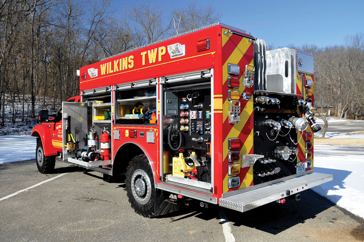 15 Wilkins Township (PA) Fire Department Co. 3 had Precision Fire Apparatus build a quick-attack pumper on a Ford F-550 chassis with a severe-duty suspension upgrade that kicked the GVWR 3,000 pounds higher to 22,500 pounds. The rig has a rear-mount Hale 1,250-gpm pump, a 300-gallon water tank, a 30-gallon foam tank, and a Hale FoamLogix foam system