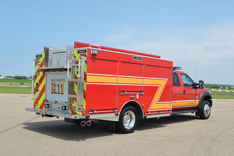 18 CustomFIRE built this rear-mount mini pumper on a Ford F-550 chassis for the Oak Grove (MN) Fire Department. (Photos 18-20 courtesy of CustomFIRE.)