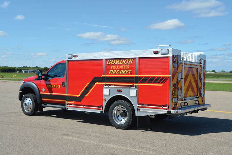 19 The Gordon (WI) Fire Department chose CustomFIRE to build this mini pumper on a Ford F-550 two-door chassis.