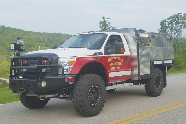 2 The Jacksonville (MD) Fire Department went to Summit Fire Apparatus for this fast-attack/brush truck built on a Ford F-550 chassis and adapted to Super Single tires and rims