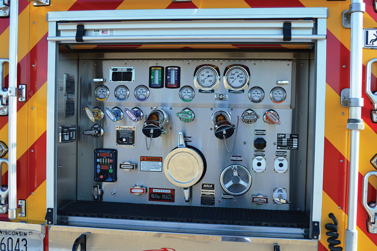 20 This is the Hale pump panel on a fast-attack pumper CustomFIRE built for the Wascott (WI) Fire Department