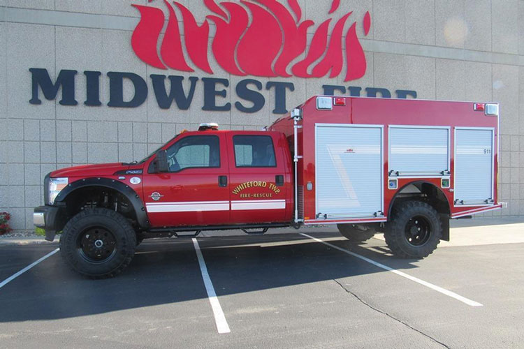 3 Midwest Fire Equipment built this fast-attack pumper for the Whiteford Township (MI) Fire Department on a Ford F-550 crew cab chassis with Super Single rims and tires and a four-inch lift kit. (Photos 3 and 4 courtesy of Midwest Fire Equipment.)