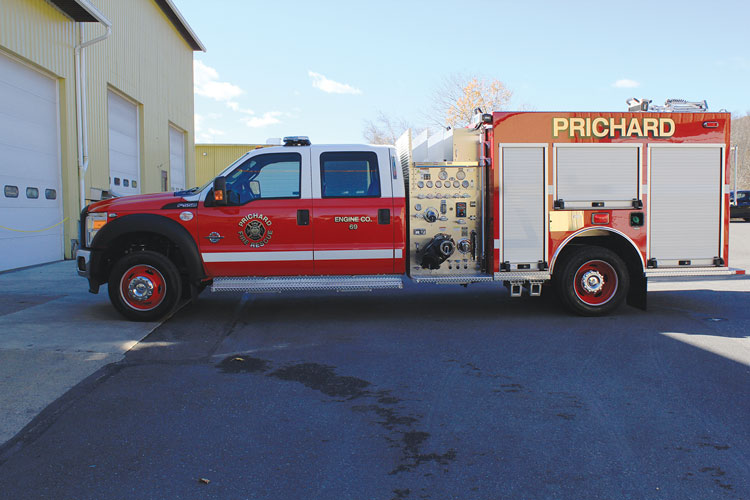6 The Prichard (AL) Fire Rescue Department turned to KME to build this quick-attack pumper with a midship pump on a Ford F-550 chassis