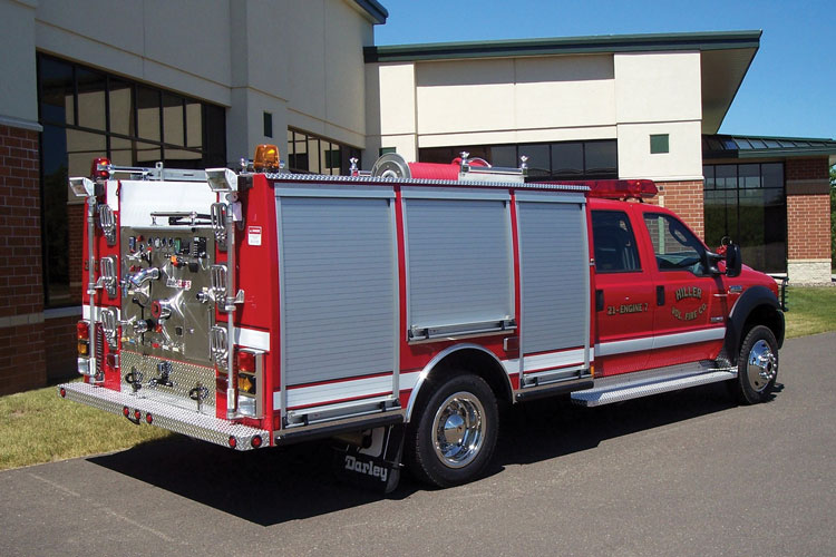 8 The Hiller (PA) Volunteer Fire Company had W.S. Darley & Company build this quick-attack pumper on a Ford F-550 chassis with a rear-mount Darley pump with a CAFS