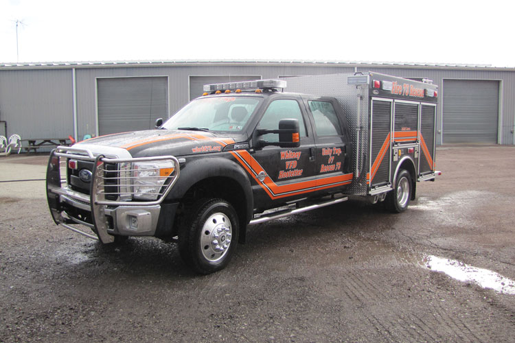 9 A Ford F-550 four-door chassis formed the base for this quick-attack pumper built by 4 Guys Fire Trucks for the Whitney-Hostetter (PA) Volunteer Fire Department with a CET PFP 19-hp pump and a 250-gallon water tank. (Photo courtesy of 4 Guys Fire Trucks.)
