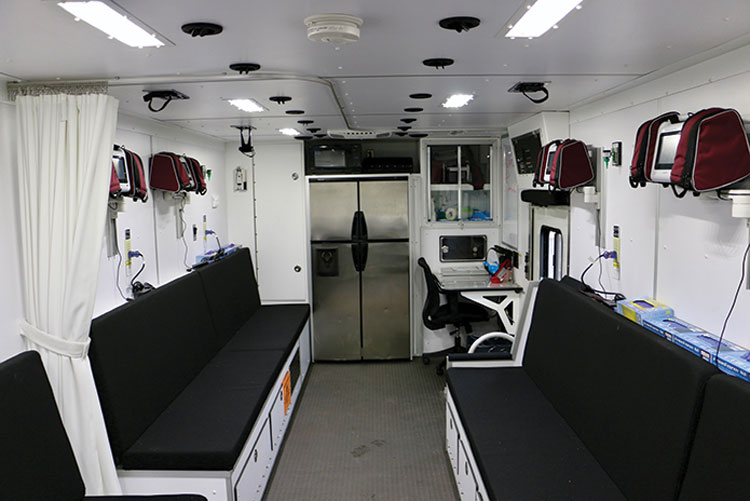 3 Rehab 800 has six EKG monitoring stations, six oxygen stations supplied from onboard O2, six IV stations if needed, and a small command center for the rehab supervisor.