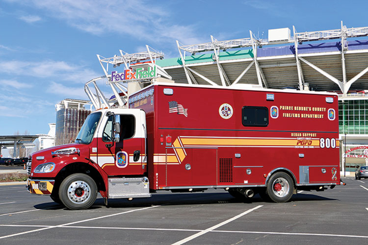 5 The rehab support unit is built on a Freightliner M2 cab and chassis and supports Rehab 800 with added water or beverages and by feeding the on-scene firefighters at long-duration incidents.