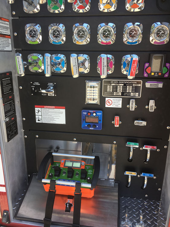 Stored below pump panel