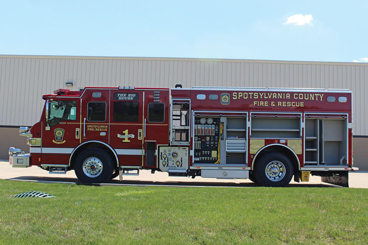 1 This Spotsylvania (VA) Fire Department PUC pumper made by Pierce Manufacturing features a pump panel on the driver's side that is slim and has clear compartmentation on the officer's side. (Photo courtesy of Pierce Manufacturing