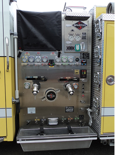 1This pumper does not have internally gated steamer inlets or a 2½-inch gated inlet controlled at the pump panel. It does have an electrically operated master discharge valve, so the department might add an external valve or a suction siamese when it gets the rig home. (Photos by Allan Smith, Spartan ER apparatus sales manager, Colden Enterprises.)