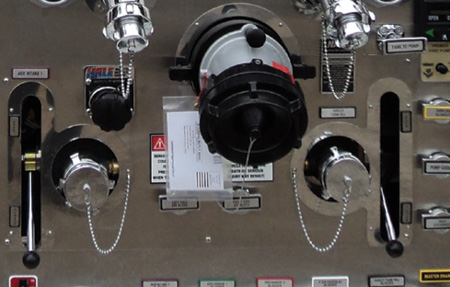 4You want to be careful hooking up a 2½-inch intake line on this rig's pump panel. There's only one, and it is to the left of the steamer. The look-alike 2½-inch intake to the right of the steamer is actually a direct tank fill. The label could have been larger.