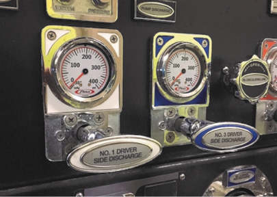"""1Commonly fire department pumpers have included psi gauges and push/pull """"T"""" handles to monitor and control the flow to hoselines. (Photos by author.)"""