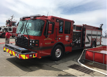 1One rig at the evolution was a Ferrara Fire Apparatus pumper slated for delivery to the Philips 66 facility in Borger, Texas. (Photos by author.)