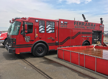 2The Ferrara Inundator Super Pumper is a world record holder and can pump 5,500 gpm from draft. Ferrara supplied this rig for the evolution featuring a US Fire Pump. It flowed 8,000 gpm through a TFT Tsunami monitor and two TFT Monsoon monitors each rated for 2,000 gpm.