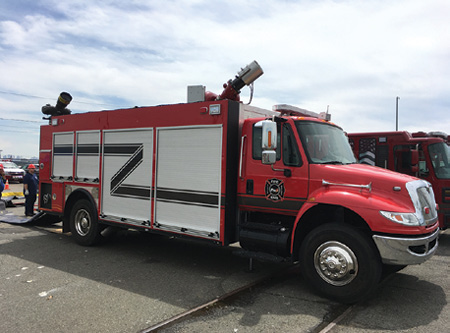 3Ferrara's deluge truck has no pump but features two 12-inch intakes, an 8,000-gpm Williams and Fire Hazard monitor, and two Elkhart Magnum EXM monitors rated at 5,000 gpm each.