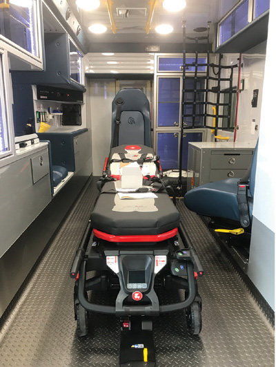 1Demers Ambulances USA Inc. has seen many customers choose a captain's chair on a sliding and rotating track instead of a squad bench on the curbside of the module where the medic can stay seated and belted yet still treat a patient. (Photos 1-3 courtesy of Demers Ambulances USA Inc.)